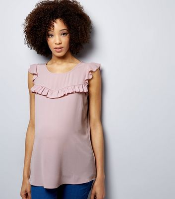 Maternity Lilac Frill Trim Cap Sleeve Top