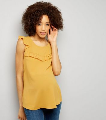 Maternity Yellow Frill Trim Cap Sleeve Top