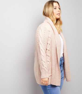 Curves Pink Cable Knit Cardigan