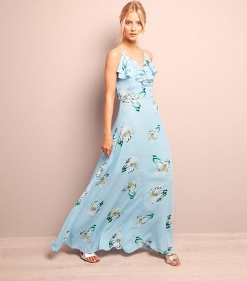 Blue Floral Print Frill Trim Maxi Dress
