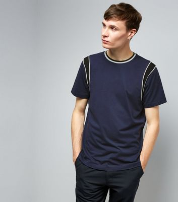 Navy Colour Block Panelled Sleeve T-Shirt