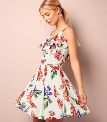 White Floral Print Frill Trim Skater Dress
