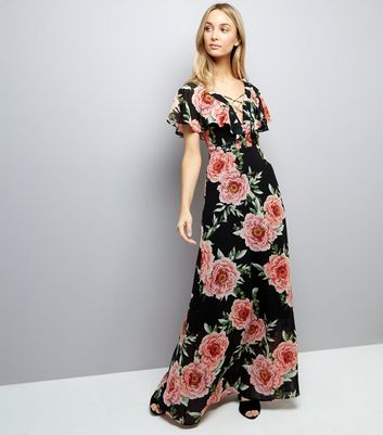 Black Floral Print Lattice Front Maxi Dress