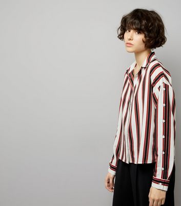 White Contrast Stripe Button Sleeve Shirt