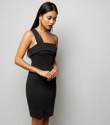 Petite Black Single Strap Fold Over Bodycon Dress