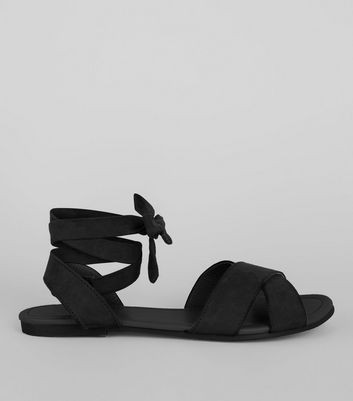 Teens Black Suedette Ankle Tie Sandals
