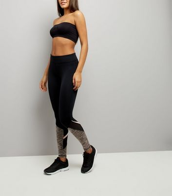 Black Spacedye Panel Sports Leggings
