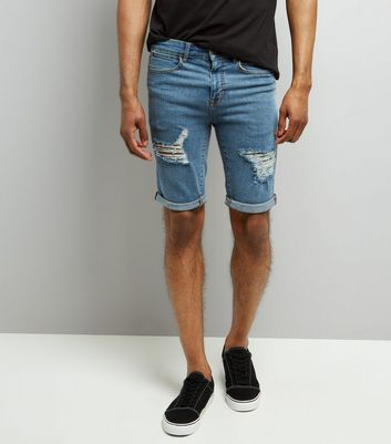 Blue Ripped Slim Leg Denim Shorts