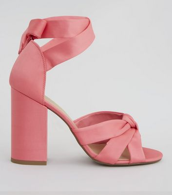 Coral Pink Satin Knot Front Block Heels