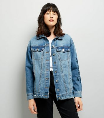 Noisy May Blue Patchwork Stud Trim Denim Jacket