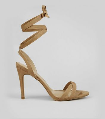 Cream Ribbon Tie Heeled Sandals