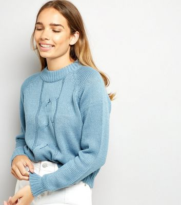 Noisy May Blue Cable Knit Crew Neck Jumper