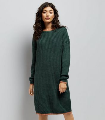 Noisy May Khaki Contrast Trim Midi Jumper Dress