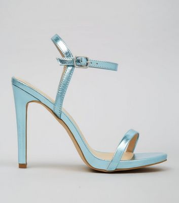 Blue Metallic Ankle Strap Heels