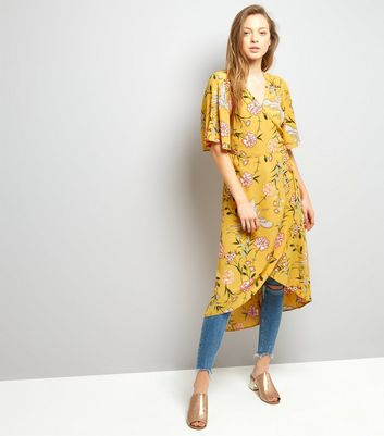 Yellow Floral Print Wrap Front Midi Dress