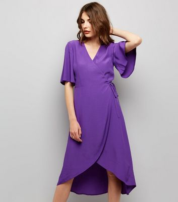 Purple Wrap Front Midi Dress