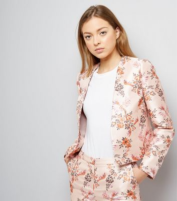 Pink Satin Floral Bird Jacquard Jacket
