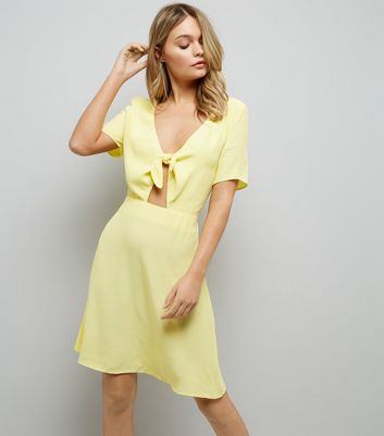 Yellow Tie Front Skater Dress