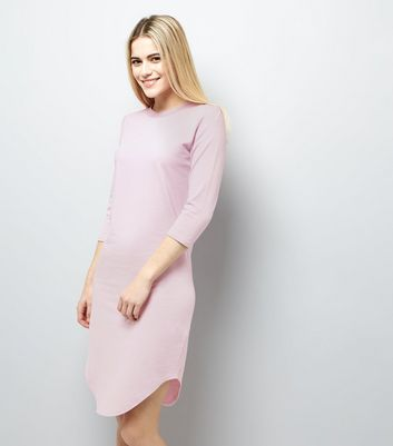 Lilac 3/4 Sleeve Curved Hem Dress