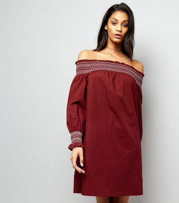 Burgundy Shirred Bardot Neck Dress