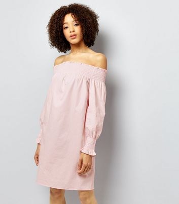 Mid Pink Shirred Bardot Neck Dress
