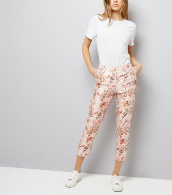 Pink Satin Floral Bird Jacquard Trousers