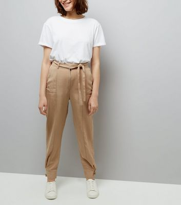 Brown Tie Waist Cuffed Hem Trousers