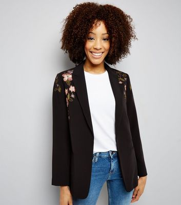 Black Floral Embroidered Blazer