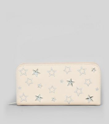 Cream Star Embroidered Zip Around Purse