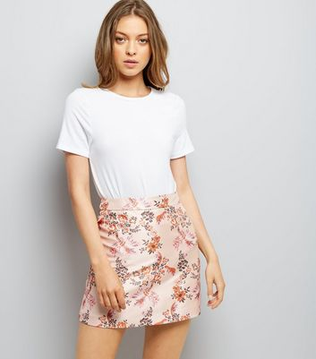 Shell Pink Floral Jacquard A-Line Skirt