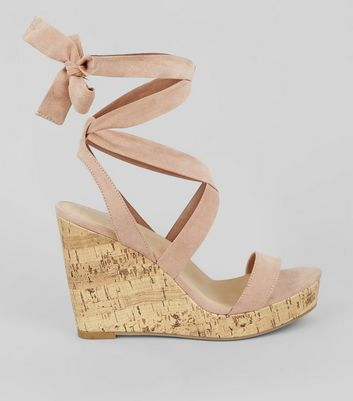Wide Fit Nude Pink Ankle Tie Heeled Wedge Sandals