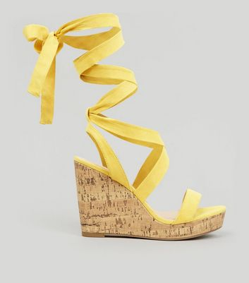 Wide Fit Yellow Ankle Tie Heeled Wedge Sandals