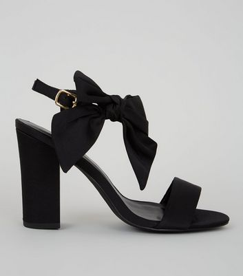 Black Satin Bow Side Heeled Sandals
