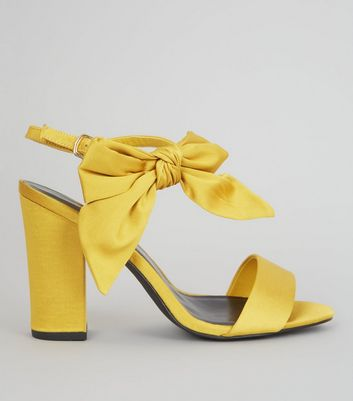 Yellow Satin Bow Side Heeled Sandals