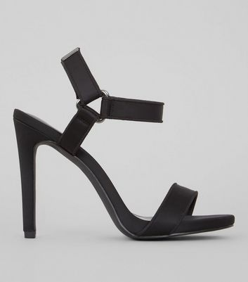 Black Satin Velcro Strap Heeled Sandals