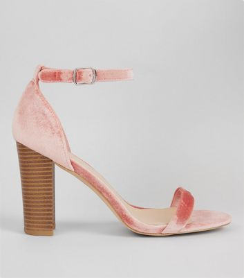 Wide Fit Pink Velvet Ankle Strap Heels