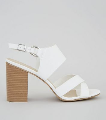 White Cross Strap Sling Back Heels