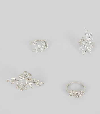 4 Pack Silver Crystal Leaf Wrap Rings