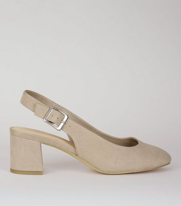 Wide Fit Grey Suedette Sling Back Heels