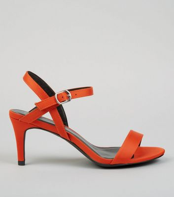 Orange Satin Low Stiletto Heels
