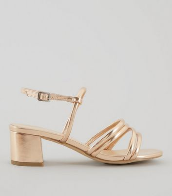 Wide Fit Rose Gold Multi Strap Low Block Heeled Sandals