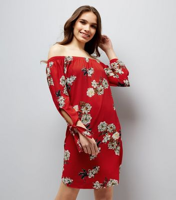 Cameo Rose Red Floral Print Bardot Dress