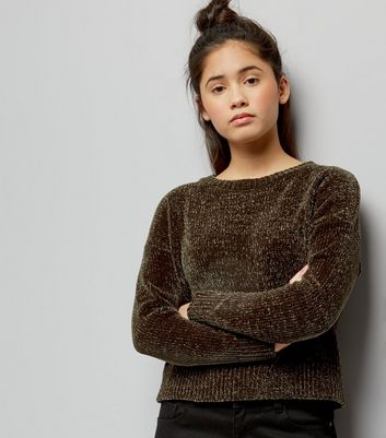 Teens Khaki Chenille Cropped Jumper
