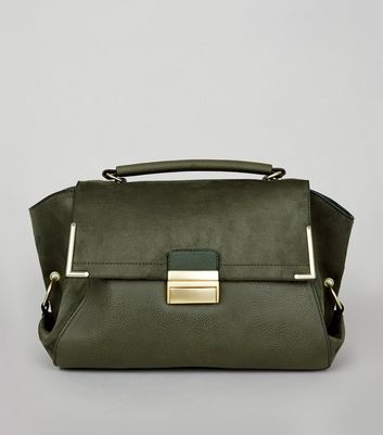 Khaki Suedette Panel Satchel