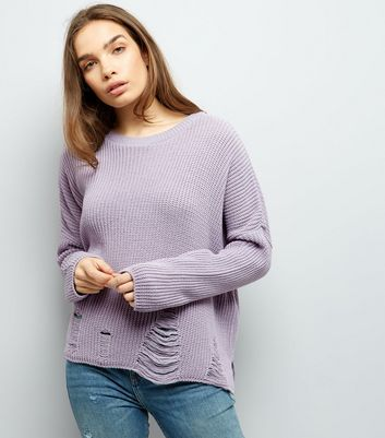 Tall Lilac Ladder Knit Hem Jumper