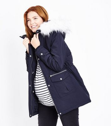 Maternity Navy Faux Fur Trim Hooded Parka | New Look