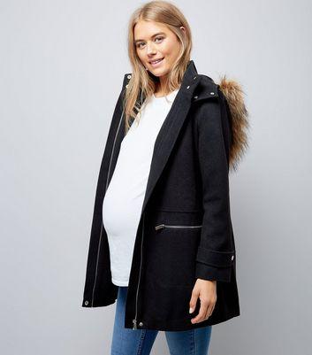 Maternity Black Faux Fur Hooded Duffle Coat | New Look