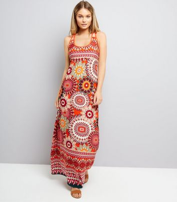 Blue Vanilla Orange Abstract Print Maxi Dress