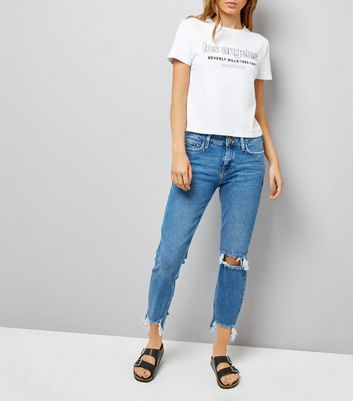 Blue Ripped Knee Fray Hem Leyla Jeans