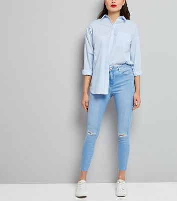 Light Blue Ripped Shaper Skinny Jeans